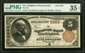 National Bank Notes:Pennsylvania, New Brighton, PA - $5 1882 Brown Back Fr. 467 The National Bank of New Brighton Ch. # 3259 PMG Choice Very Fine 35 EPQ...