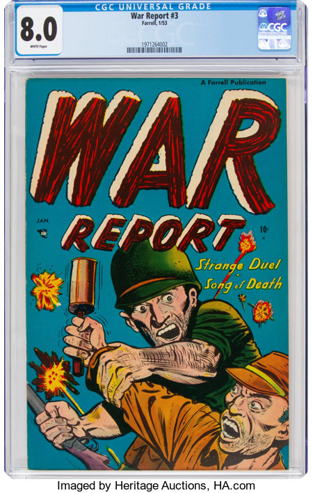 War Report #3 (Farrell, 1953) CGC VF 8.0 White pages....