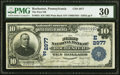 National Bank Notes:Pennsylvania, Rochester, PA - $10 1902 Plain Back Fr. 624 The First National Bank Ch. # (E)2977 PMG Very Fine 30.. ...
