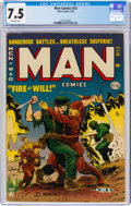 Golden Age (1938-1955):War, Man Comics #23 (Atlas, 1953) CGC VF- 7.5 Off-white pages....