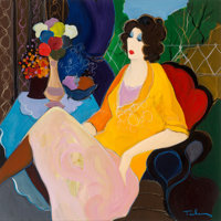 Itzchak Isaac Tarkay (Serbian/Israeli, 1935-2012) Lounging in the Afternoon Oil and pastel on canvas