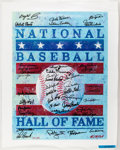 Autographs:Others, Baseball Hall of Fame Signed Canvas. Offered is a...