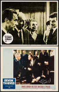 "Seven Thieves & Other Lot (20th Century Fox, 1959). Fine/Very Fine. Autographed Lobby Cards (2) (11"" X 14""..."