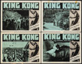 "Movie Posters:Horror, King Kong (RKO, R-1952). Fine+. Lobby Cards (4) (11"" X 14""). Horror.. ... (Total: 4 Items)"