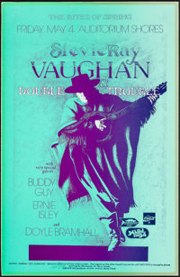 "Stevie Ray Vaughan and Double Trouble (1990). Fine+ on Board. Signed Concert Poster (11"" X 17"") Nels Jacobson..."