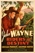 "Movie Posters:Western, Riders of Destiny (Monogram, 1933). Very Fine on Linen. One Sheet (27"" X 41.5"").. ..."