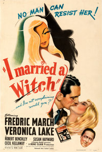 "I Married a Witch (United Artists, 1942). Fine/Very Fine on Linen. One Sheet (27"" X 41""). From the Mike Kaplan..."