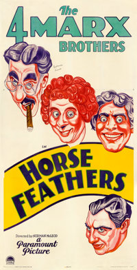"Horse Feathers (Paramount, 1932). Fine on Linen. Autographed Three Sheet (41"" X 80.5""). From the Mike Kaplan C..."