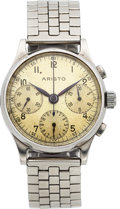 Timepieces:Wristwatch, Aristo Import Co. Steel Valjoux 71 Three Register Chronograph, circa 1940's. ...