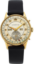 Timepieces:Wristwatch, Tiffany & Co. Movado 14k Gold Triple Calendar Vintage Watch, circa 1940's. ...