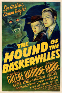 "The Hound of the Baskervilles (20th Century Fox, 1939). Very Fine- on Paper. One Sheet (27.5"" X 41"")"