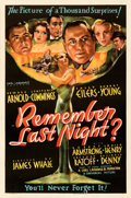 "Movie Posters:Comedy, Remember Last Night? (Universal, 1935). Fine/Very Fine on Linen. One Sheet (27"" X 41""). From the Mike Kaplan Collection...."