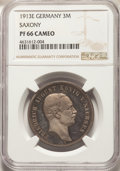 German States: Saxony. Friedrich August III Proof 3 Mark 1913-E PR66 Cameo NGC