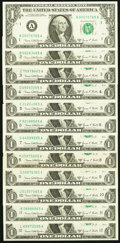 "Complete District Set ending in ""65"" Fr. 1907-A-L $1 1969D Federal Reserve Notes Choice Crisp Uncirculated or..."