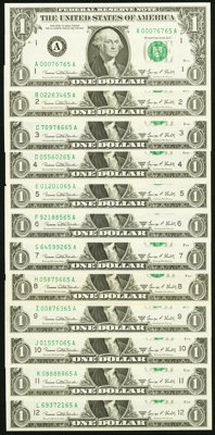 """Complete District Set ending in """"65"""" Fr. 1907-A-L $1 1969D Federal Reserve Notes Choice Crisp Uncirculated or..."""