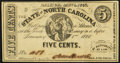 Raleigh, NC- State of North Carolina 5¢ Jan. 1, 1863 Cr. 148 Choice About Uncirculated