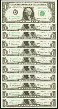 Near Complete District Set Fr. 1901-A-J; L $1 1963A Federal Reserve Notes Choice Crisp Uncirculated or Better. ... (Tota...