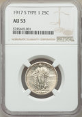 Standing Liberty Quarters, 1917-S 25C Type One AU53 NGC. NGC Census: (25/256). PCGS Population: (53/564). CDN: $230 Whsle. Bid for NGC/PCGS AU53. Mint...