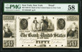New York, NY- Bank of the United States in New York $50 18__ G6 Proof PMG Choice About Unc 58