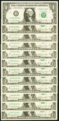 Complete District Set Fr. 1911-A*-L* $1 1981 Federal Reserve Star Notes Choice Crisp Uncirculated or Better. ... (Total:...