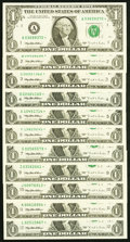 Complete District Star Set $1 1995 Federal Reserve Notes Choice Crisp Uncirculated or Better. Fr. 1921-A*-E*; Fr. 19...