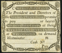 Westminster, VT- Vermont State Bank of Discount & Deposit 75¢ 18__ Remainder Very Fine