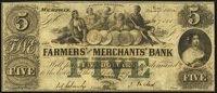 Memphis, TN- Farmers' and Merchants' Bank of Memphis $5 May 1, 1854 Very Fine