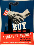 "Movie Posters:War, World War II Propaganda (U.S. Government Printing Office, 1941 ). Very Fine on Linen. Poster (41.5"" X 55.5""). ""Buy a Share i..."