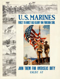 "Movie Posters:War, U.S. Marines: First to Hoist Old Glory... (U.S. Marines, 1913). Fine/Very Fine on Linen. Recruiting Poster (30"" X 39...."