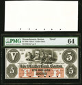 Obsoletes By State:Massachusetts, Boston, MA- Hide & Leather Bank, Boston $5 Oct. 1, 1857 as G8a Proof PMG Choice Uncirculated 64.. ... (Total: 2 notes)
