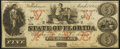 Tallahassee, FL- State of Florida $5 Mar. 1, 1864 Cr. 34 Choice About Uncirculated