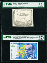 France Domaines Nationaux; Banque de France 50 Sols; 50 Francs 23.5.1793; 1999 Pick A70b; 157Ad Two Examples PMG Choice...