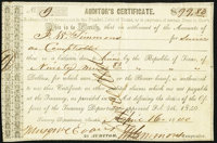 Austin, TX- Auditor's Certificate $99.83 April 16, 1840 Cr. AW2 Medlar 12 Very Fine-Extremely Fine