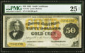 Large Size:Gold Certificates, Fr. 1193 $50 1882 Gold Certificate PMG Very Fine 25 Net.. ...