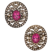 Tourmaline, Diamond, Gold Silver Earrings