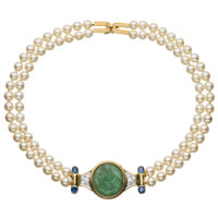 Cultured Pearl, Multi-Stone, Diamond, Gold Necklace