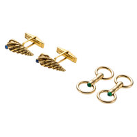 Sapphire, Chrysoprase Gold Cuff Links ... (Total: 2 Items)
