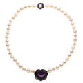 Estate Jewelry:Necklaces, Amethyst, Diamond, Cultured Pearl, Gold Necklace . ...