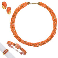 Coral, Diamond, Gold Jewelry Suite ... (Total: 4 Items)