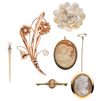 Shell, Mother-of-Pearl, Cultured Pearl, Diamond, Gold Brooches ... (Total: 6 Items)