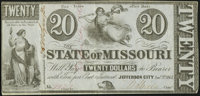 Jefferson City, MO- State of Missouri $20 Jan. 1, 1862 Cr. 2D Very Fine-Extremely Fine