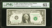 Mismatched Serial Number Error Fr. 1903-F $1 1969 Federal Reserve Note. PMG Gem Uncirculated 65 EPQ