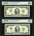 Radar 74544547 Fr. 1940-L $2 2013 Federal Reserve Note PMG Superb Gem Unc 68 EPQ; Repeater 74547454 Fr. 1940-L $2 2013 F...