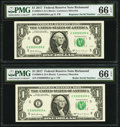 Small Size:Federal Reserve Notes, Radar 93999939 Fr. 3004-E $1 2017 Federal Reserve Note PMG Gem Uncirculated 66 EPQ;. Repeater 93999399 Fr. 3004-E $1 2017 ... (Total: 2 notes)