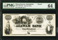 Obsoletes By State:Massachusetts, Springfield, MA- Agawam Bank $100 18__ as G16 Proof PMG Choice Uncirculated 64.. ...