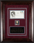 Autographs:Post Cards, Yitzhak Shamir Signed First Day Cover Display....