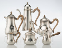 A Puiforcat Five-Piece Silver-Plated Coffee and Tea Set with a James Robinson Silver Coffee Pot, 20th century Marks to P...