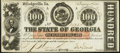 Obsoletes By State:Georgia, Milledgeville, GA- State of Georgia $100 Feb. 1, 1863 Cr. 6 Choice About Uncirculated.. ...