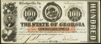 Milledgeville, GA- State of Georgia $100 Feb. 1, 1863 Cr. 6 Choice About Uncirculated