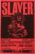 """Music Memorabilia:Posters, Slayer/Overkill 11"""" x 17"""" Concert Poster Signed Twice (1986)...."""